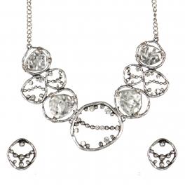 Wholesale WA00 Abstract rhinestone web bib necklace set SB