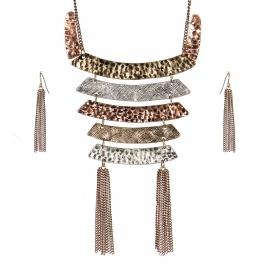 Wholesale WA00 Chain statement tassel metal bib necklace set BTRI
