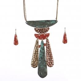 Wholesale WA00 Textured metal pendant statement necklace set PT