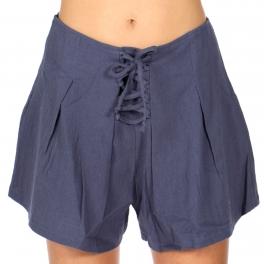 Wholesale S16B Cotton lace-up flared shorts Denim Blue