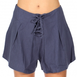 Wholesale S16B Cotton lace-up flared shorts Denim Blue