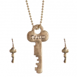 Wholesale WA00 Key pendant necklace set Faith GB