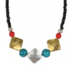 Wholesale WA00 Handmade necklace with turquoise and red beads