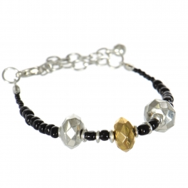 Wholesale WA00 Handmade gold and silver color beaded bracelet