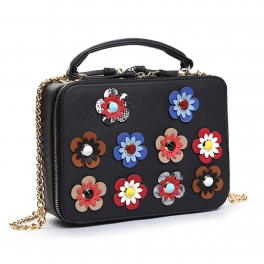 Wholesale S28A Floral detail crossbody bag Black