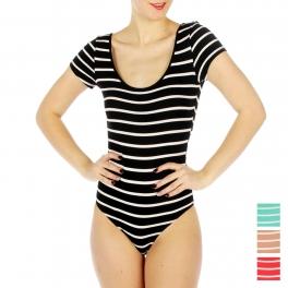 wholesale Cotton stripe short sleeve bodysuit BK/WH