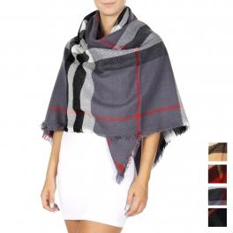 Wholesale Q24-1C Oversized check square scarf