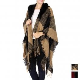 Wholesale Q56B Faux fur collar woven wrap