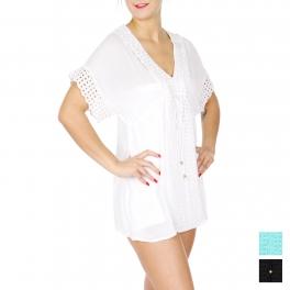 Wholesale J06D Lace detail sleeve tunic Plus Size BLACK
