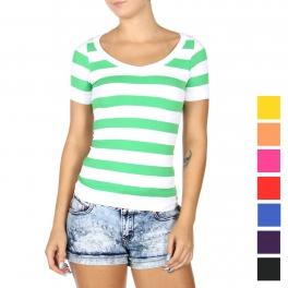 Wholesale T70E Striped short sleeve top
