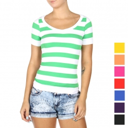 Wholesale T70E Striped short sleeve top