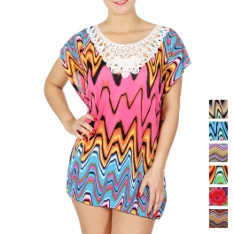 Wholesale N10 Floral crochet front abstract chevron print top PK