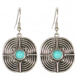 Wholesale M21C Textured metal drop earrings SB
