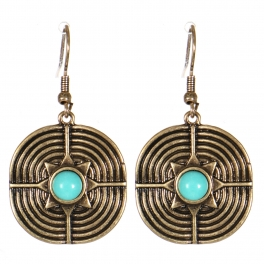 Wholesale M21C Textured metal drop earrings RGB