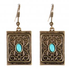 Wholesale M21C Textured metal rectangle drop earrings RGB