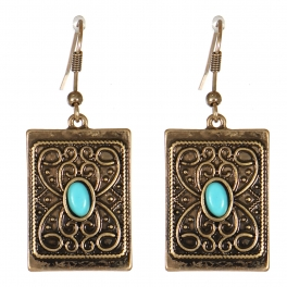 Wholesale M21C Textured metal rectangle drop earrings RGB