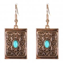 Wholesale M21C Textured metal rectangle drop earrings APG