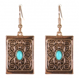 Wholesale M21C Textured metal rectangle drop earrings APG