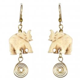 Wholesale M21E Handmade carved camel bone earrings
