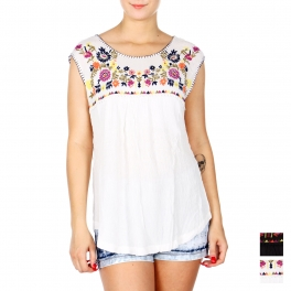 Wholesale K42A Floral embroidery sleeveless gauze top PLUS SIZE BLACK