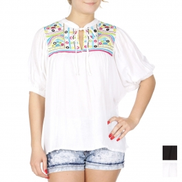Wholesale K75A Feather & dots embroidery puffed sleeve blouse PLUS SIZE BLACK