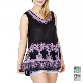 Wholesale H16B Palm trees sleeveless batik tunic Purple