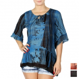 Wholesale K59B Acid wash abstract flower 3/4 sleeve batik top PLUS SIZE TURQ