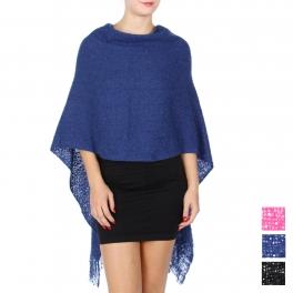Wholesale Q20C Asymmetrical woven poncho