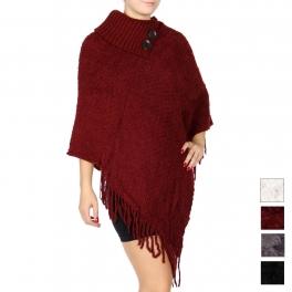 Wholesale T69C Knit fringe poncho