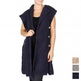 Wholesale T63 Hooded open sweater vest