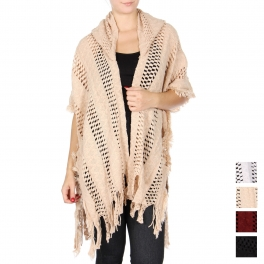 Wholesale T63 Open knit hooded cape