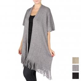 Wholesale T63 Metallic knit fringe trim cape