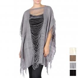 Wholesale T63 Shredded knit poncho