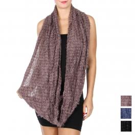 wholesale R70B Fuzzy stripe infinity scarf Dozen
