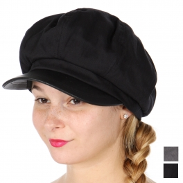 Wholesale W60B Cotton blend faux leather brim newsboy hat