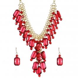 Wholesale Crystal bead drop necklace set WINE1