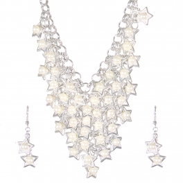 Wholesale Faux pearl star dangling necklace set S