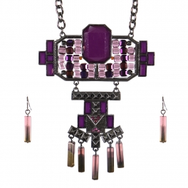 Wholesale Stone charm long necklace set HTPU