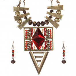 Wholesale Bead and metal necklace set GBRD