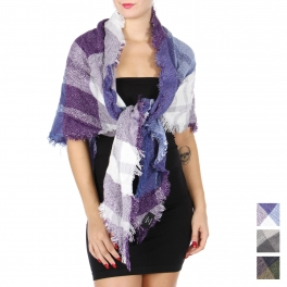 Wholesale Q65B Plaid woven triangle scarf with lurex