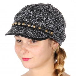 Wholesale V23C Faux leather trim newsboy hat