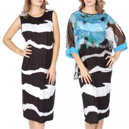 Wholesale T13B Chiffon top and dress set Blue