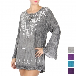 Wholesale S30B Embroidery floral tunic