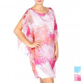 Wholesale Q12-1E Cotton blend floral cold-shoulder dress