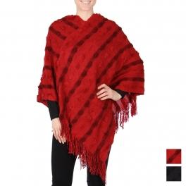 Wholesale U20SA Textured stripe poncho