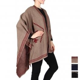 Wholesale Q07A Border design knit ruana