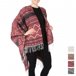 Wholesale O24B Wool blend fringe ruana