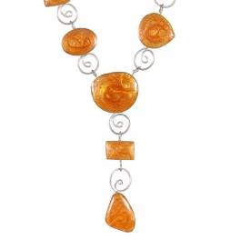 Wholesale M21E Handmade swirl necklace Orange