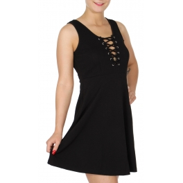 Wholesale I12C Eyelet lace up dress Black