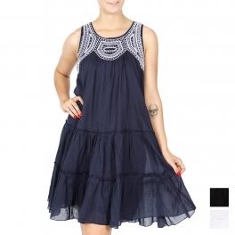 Wholesale K12A Vine embroidery tiered short dress PLUS SIZE BLACK